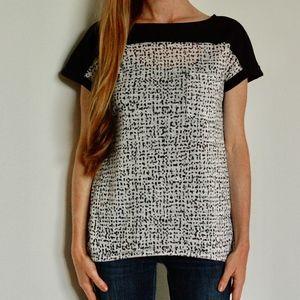 calvin klein, black and white short sleeve top